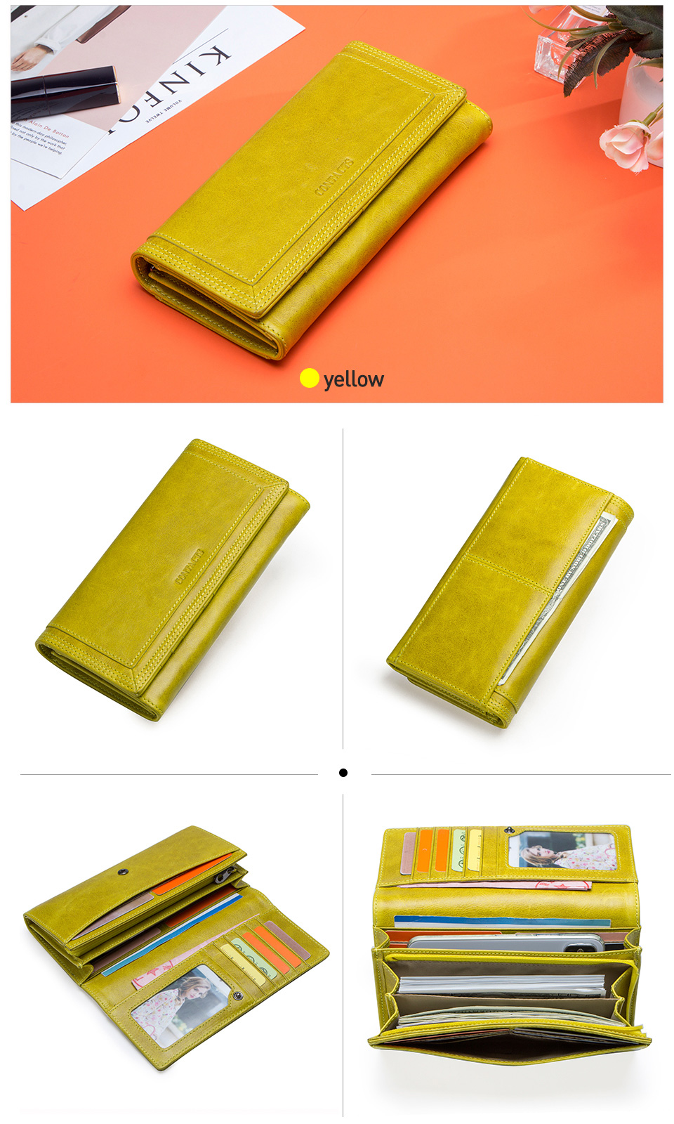 Clutch Wallets for Women Coin Purse Phone Pocket Genuine Leather Female Wallet Card Holder Money Bag gray 19*10*3.5cm 15