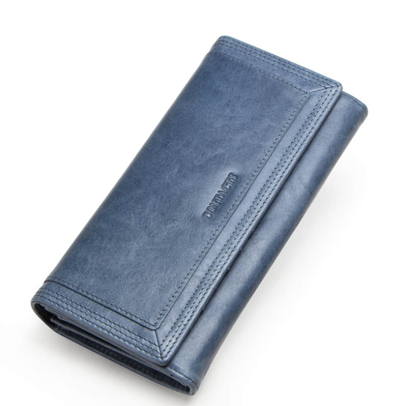 Clutch Wallets for Women Coin Purse Phone Pocket Genuine Leather Female Wallet Card Holder Money Bag gray 19*10*3.5cm 18