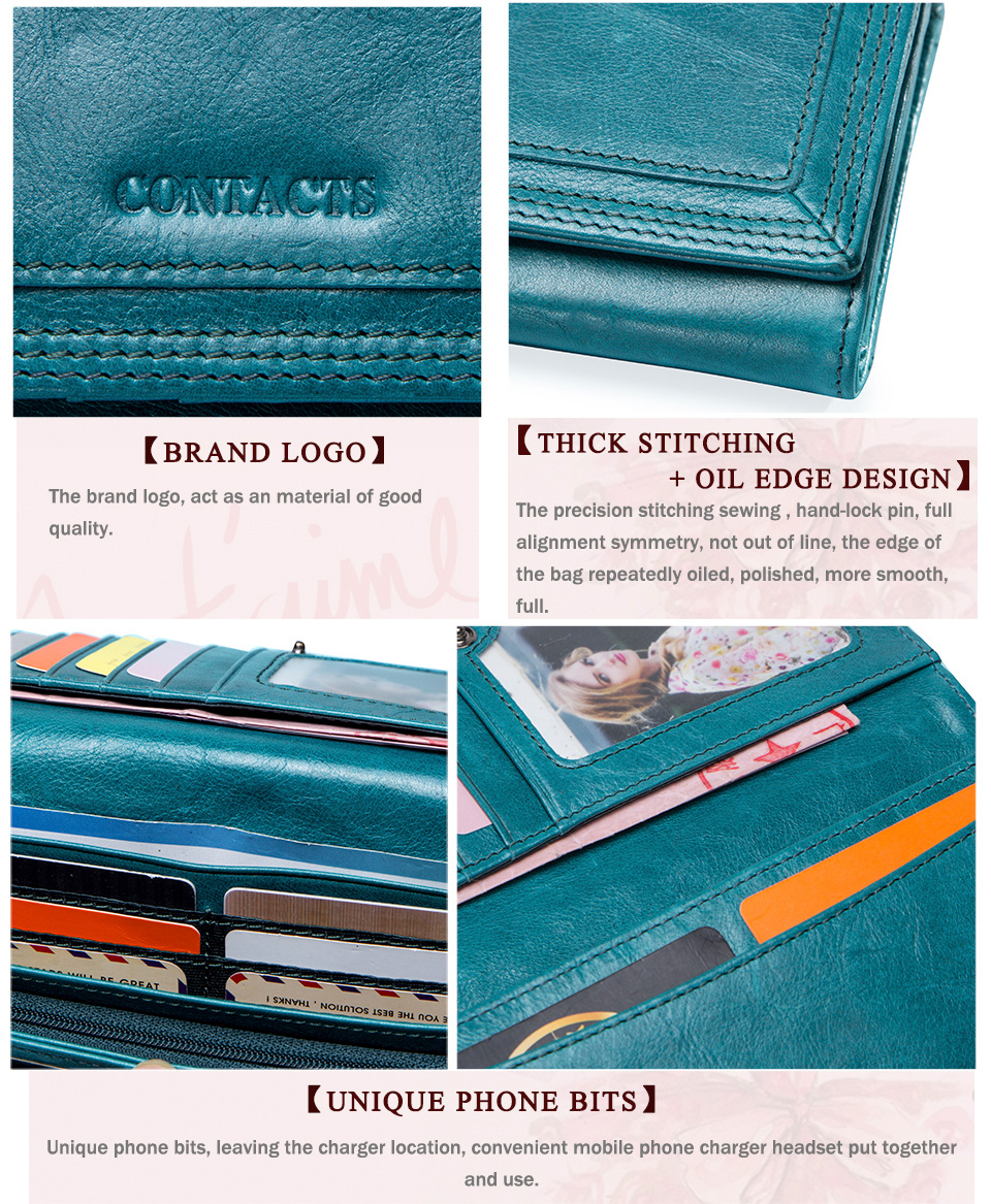 Clutch Wallets for Women Coin Purse Phone Pocket Genuine Leather Female Wallet Card Holder Money Bag gray 19*10*3.5cm 20
