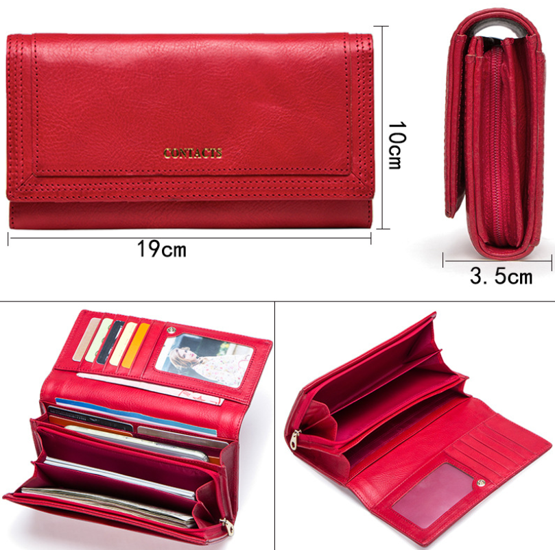 Clutch Wallets for Women Coin Purse Phone Pocket Genuine Leather Female Wallet Card Holder Money Bag gray 19*10*3.5cm 10