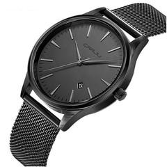 New men's steel mesh belt watch men's watch calendar casual business watches men 1 a