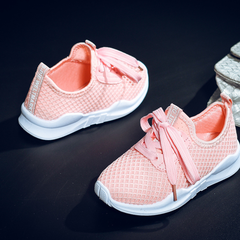 Kids Shoes Fashion Mesh Casual Children Sneakers For Boy Girl Toddler Baby Breathable Sport Shoe pink 26