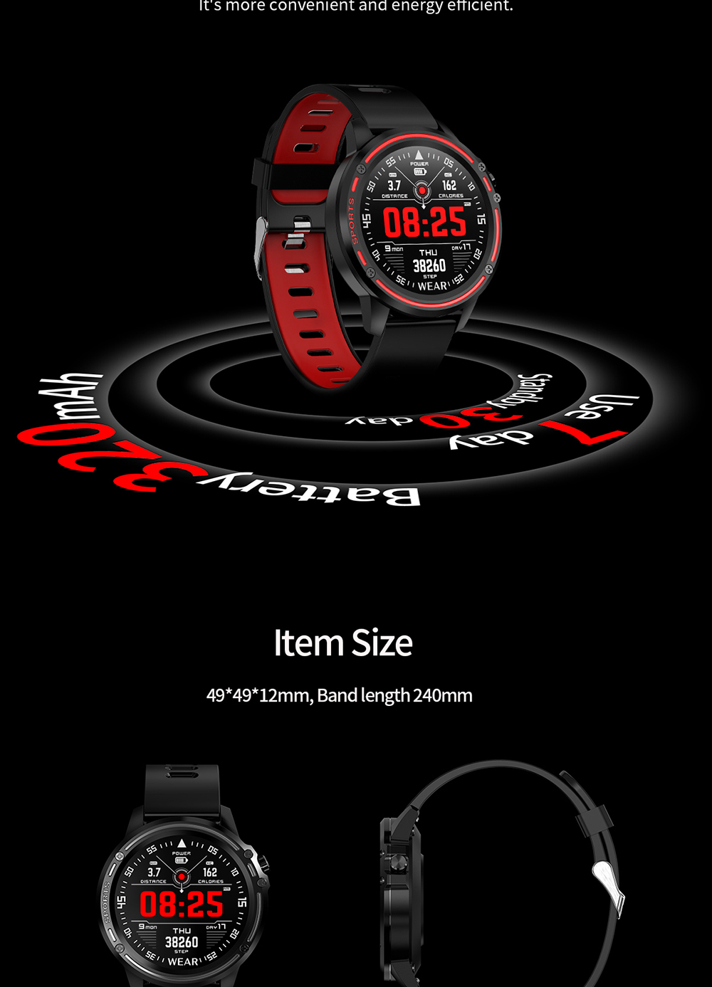 L8 Smart Watch Men IP68 Waterproof Reloj Hombre Mode SmartWatch With ECG PPG Blood Pressure red one size 15