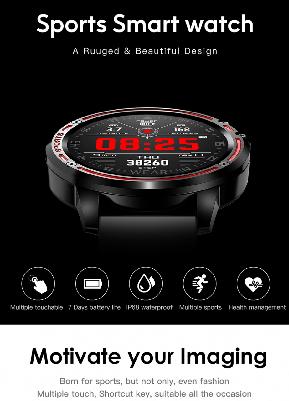 L8 Smart Watch Men IP68 Waterproof Reloj Hombre Mode SmartWatch With ECG PPG Blood Pressure red one size 1