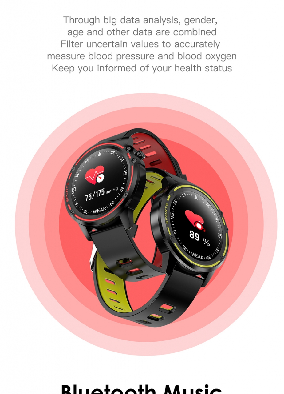 L8 Smart Watch Men IP68 Waterproof Reloj Hombre Mode SmartWatch With ECG PPG Blood Pressure red one size 12