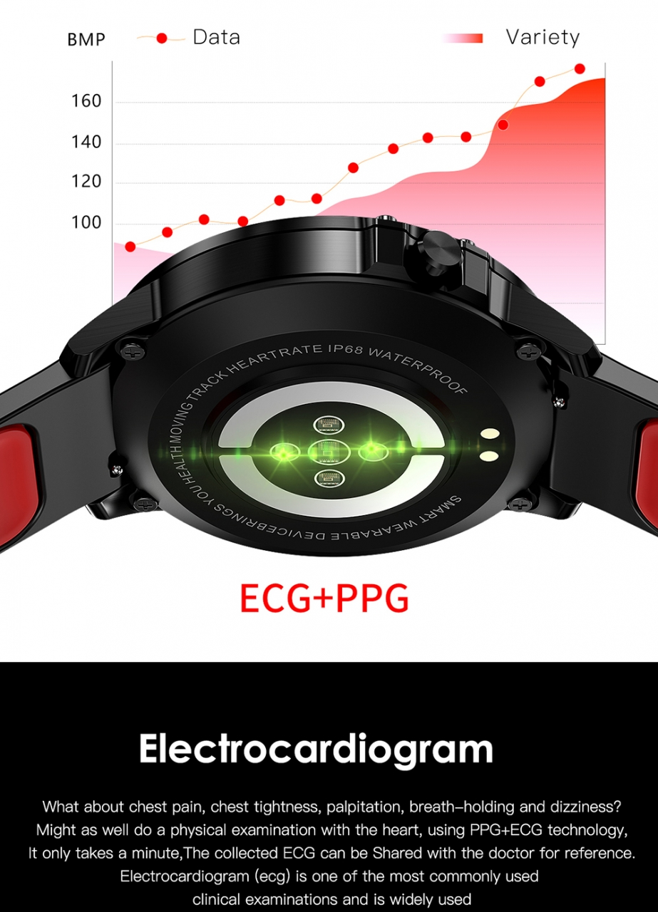 L8 Smart Watch Men IP68 Waterproof Reloj Hombre Mode SmartWatch With ECG PPG Blood Pressure red one size 10
