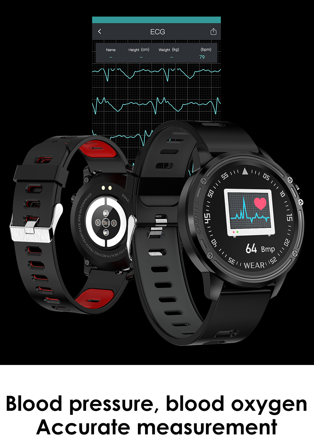 L8 Smart Watch Men IP68 Waterproof Reloj Hombre Mode SmartWatch With ECG PPG Blood Pressure red one size 11