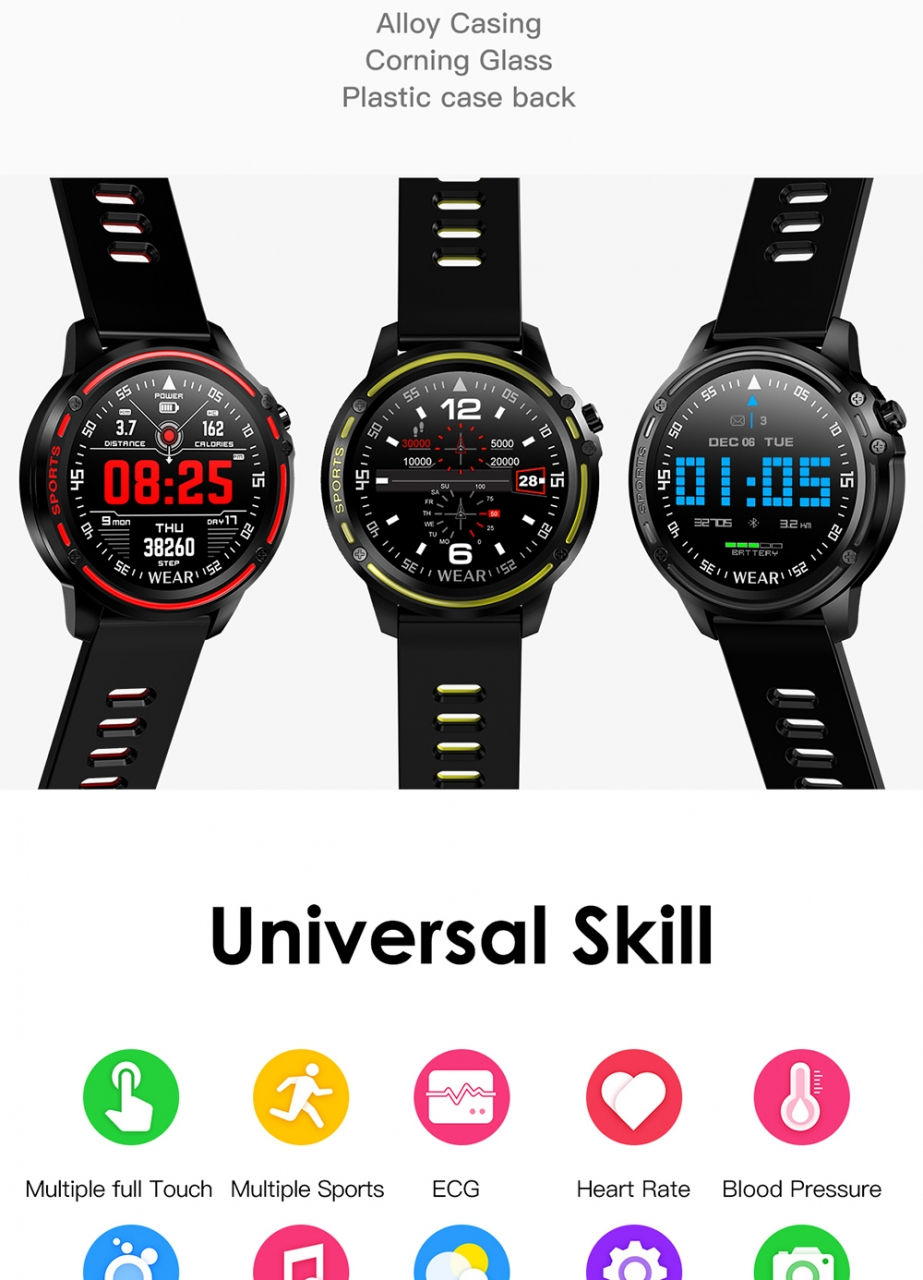L8 Smart Watch Men IP68 Waterproof Reloj Hombre Mode SmartWatch With ECG PPG Blood Pressure red one size 3