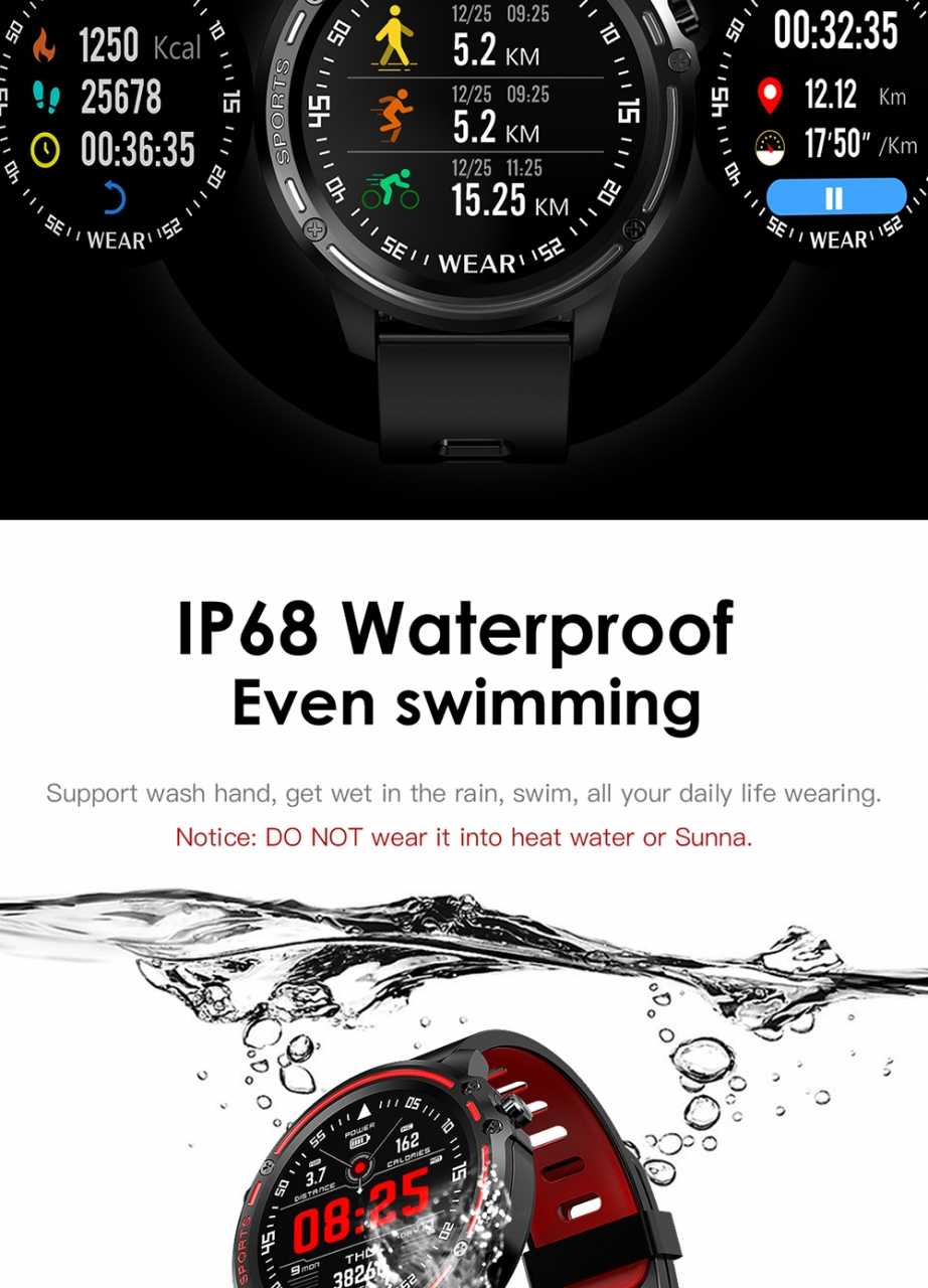 L8 Smart Watch Men IP68 Waterproof Reloj Hombre Mode SmartWatch With ECG PPG Blood Pressure red one size 5
