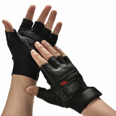 Men Black PU Leather Weight Lifting Gym Gloves Workout Wrist Wrap Sports Exercise Training Fitness black one