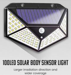 10W Solar Wall Lamp PIR Motion Sensor 100LED Solar Power Light Waterproof Lamp for Yard Garland White one size