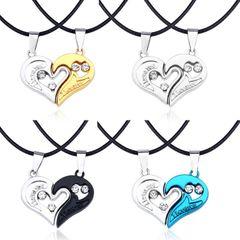 2Pcs/Set Couple Jewellery Necklace Pendant Couples Paired Necklaces&Pendants Unisex Lovers Pendant Black as picture