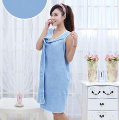 Microfiber Women Sexy Bath Towel Wearable Beach Towel Soft Beach Wrap Skirt Bath Gown Blue 150*80CM