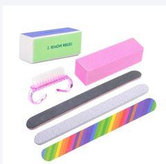 6pcs Nail Files Brush Buffing Grit Sand Fing Nail Tool Accessories Sanding File UV Gel Polish Tools Pink