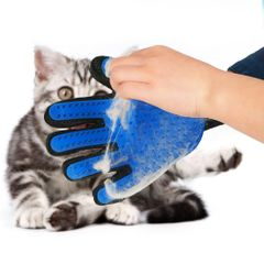 Gloves Grooming Pet Dog Hair Deshedding Brush Comb Glove For Pet Dog Finger Cleaning Massage Glove Blue right hand