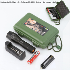 Portable T6 Tactical  LED Flashlight 980000LM Zoomable 5-Mode Without Battery Outdoor Tools Black 18650