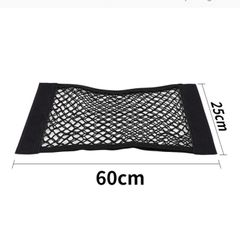 Car Back Rear Mesh Trunk Seat Elastic String Net Magic Sticker Universal Storage Bag Pocket Cage Black 60*25cm