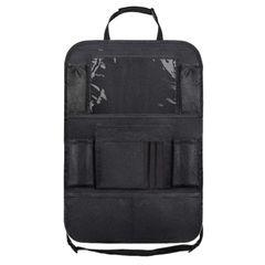 Car Backseat Organizer with Touch Screen Tablet Holder + 9 Storage Pockets Kick Mats Car Seat Back Black 61*41cm