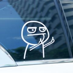 Anti-High beam reflective car funny sticker 15 x 15 cm White Double Hand