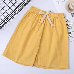 2019 Kids cotton and linen leisure sports short pants 100- 140 cm yellow 100 cm