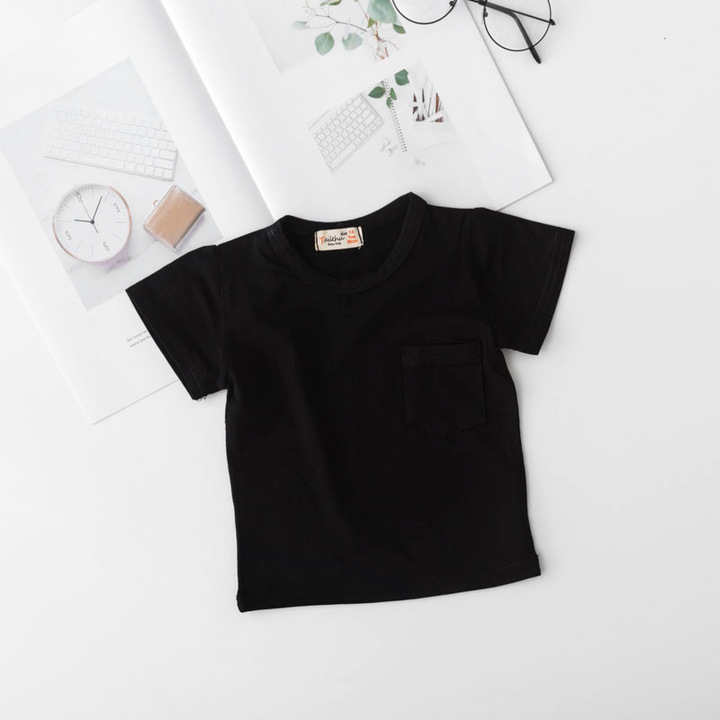 Summer Baby kids short sleeve bottom cotton shirt printing round neck top Black 110 cm cotton blend