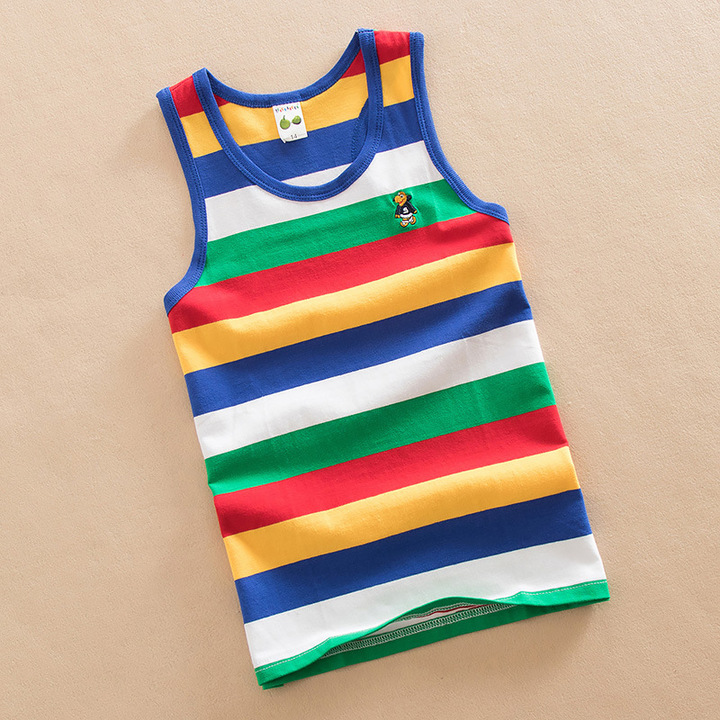 Baby Kids Cotton bottom shirt Vest With color stripe 4 165 cm