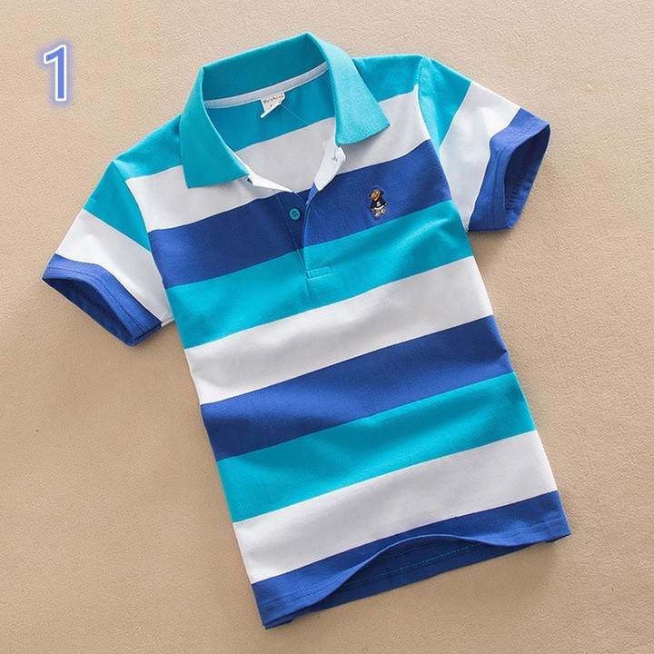 Short Sleeve Cotton Kids Stripe Lapel Neck Polo Tee Shirt 1 110 cm cotton