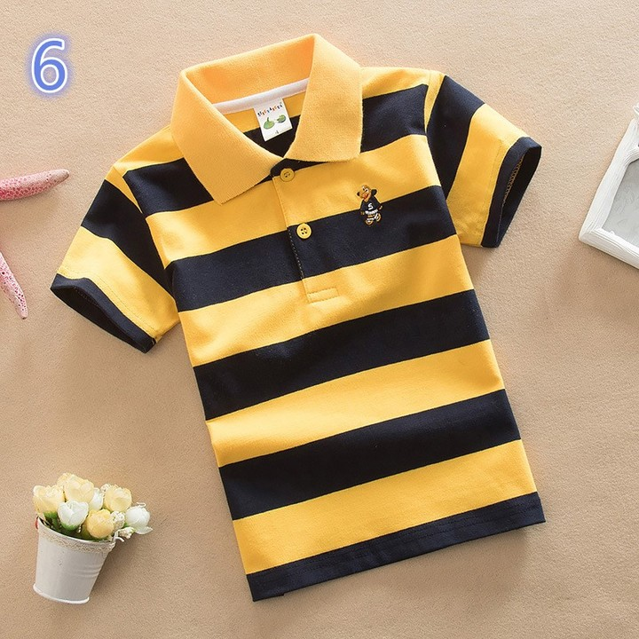 Short Sleeve Cotton Kids Stripe Lapel Neck Polo Tee Shirt 6 165 cm cotton