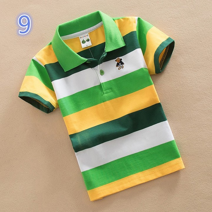 Short Sleeve Cotton Kids Stripe Lapel Neck Polo Tee Shirt 9 165 cm cotton