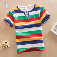 Baby Boy Cotton Short Sleeve Stripe Summer Tee Shirt 1 110 cm cotton