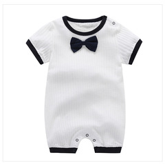 2019 New Design Round neck / Lapel Neck Baby New Born Short Sleeve Cotton Jumpsuit Baby Suit Layette Dark Blue - Round Neck 80 cm