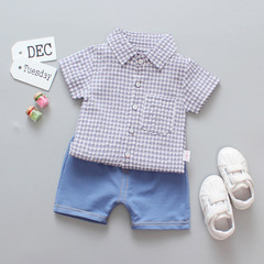 Baby Boy New grid short sleeve cotton shirt set 2019 2 110 cm