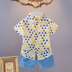 2019 New 0-4 Years old baby boy short sleeve shirt set with jean pants for summer 1 90 cm