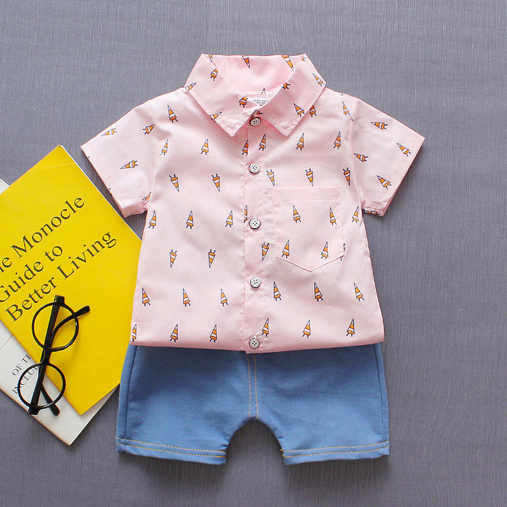 2019 New 0-4 Years old baby boy short sleeve shirt set with jean pants for summer 16 80 cm