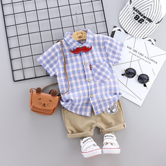 Summer Baby Kids Cotton mustache neck short sleeve shirt set 1 90 cm