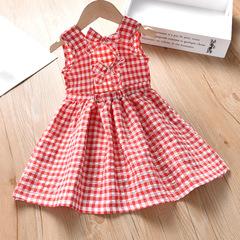 2019 Summer New baby Girl bow knot plaid vest princess dress 1 90 cm