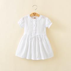 2019 Summer baby girl short sleeve cotton white dress White 90 cm
