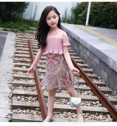 2019 New Girl Flower off shoulder fashion dress 1 110