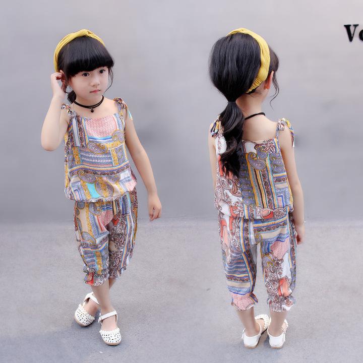 2019 Summer staple fiber cotton baby girl cool fashion dress set ZSH0454 110 cm