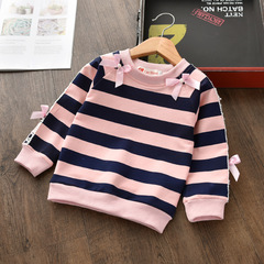 2019 Kids Baby Girl Long sleeve stripe lace top 1 90 cm