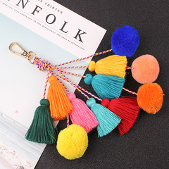 Popular retro color tassel key chain bag pendant handmade jewelry multicolor one size
