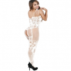 Women's Crotchless Fishnet Bodystocking Sexy Lingerie High Elasticiy Open Crotch Bodysuit White One Size
