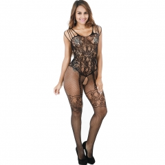 Women's Crotchless Fishnet Bodystocking Sexy Lingerie High Elasticiy Open Crotch Bodysuit Black One Size
