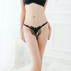 Women's Sexy G-String Pearl Thong With Tassels Floral Crotchless Lingerie Bikinis black one size