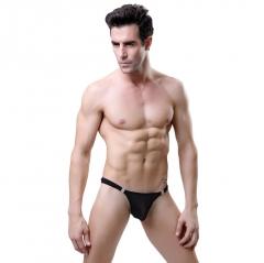 Men's Sexy Bikini Lingerie Detachable See Though Mesh Thong Breathable Hot Briefs Black One Size Nylon