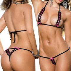 Charming Bra G-String Set Halter Bikini Lingerie Sleepwear For Women Black One Size