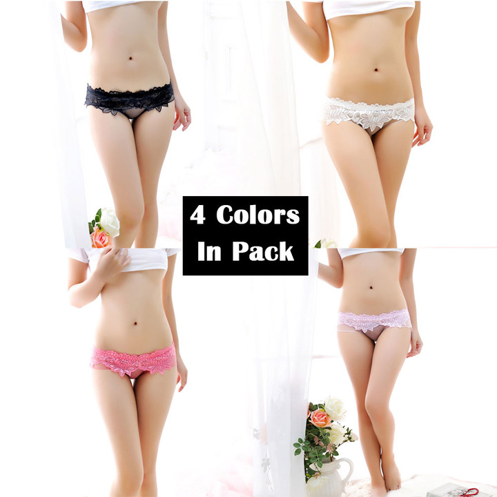 Sexy Lace Underwear 4 Colors Pack Cute Breathable See-Through Floral Panties Perfect Gift For Women one size as picture