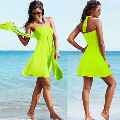 Women's Multi-functional Maxi Dress Pure Color Casual Beach Dresses Halter Off Shoulder Padded Skirt neon green xl