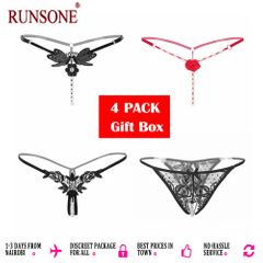 Women's 4 Styles Pack Sexy Pearl Thongs Crotchless Mesh Floral G-String For Ladies one size as picture