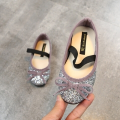 Hot Girls Shoes Lovely Diamond Bow Children Sandals High Quality Princess Kids Shoes Children Shoes silver 26